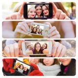 Selfies door de seizoenen van het jaar stock afbeeldingen