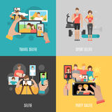 Selfies 4 flat  icons square banner Royalty Free Stock Photography