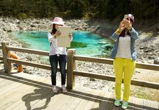 Selfies in Jiuzhaigou China Stock Photo