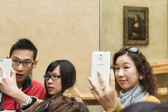 Selfies mit Mona Lisa Stockfotografie