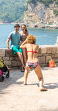 Selfies on the promenade of Budva in Montenegro Royalty Free Stock Photography