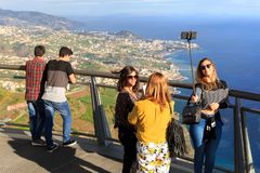 Selfies at the viewpoint Madeira royalty free stock photography