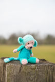 Selfmade stuffed monkey outdoor Royalty Free Stock Photo