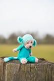 Selfmade stuffed monkey outdoor Royalty Free Stock Photo