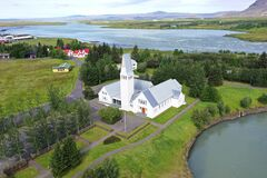 Selfoss church in it`s special location