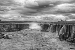 Selfoss. Is the very powerful waterfall on Iceland not far from its bigger brother Dettifoss. It is located in Jokulsargljufur National Park the northeasten Royalty Free Stock Photo