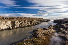 Selfoss Wasserfall Herbstreise in Island Lizenzfreies Stockbild