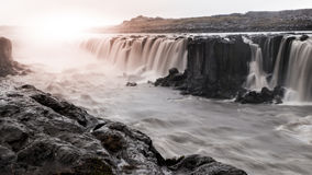 Selfoss waterfall on Jokulsa a Fjollum river, Iceland. Long exposure image Royalty Free Stock Images