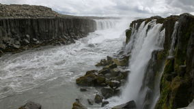 Selfoss waterfall in Northern Iceland stock video