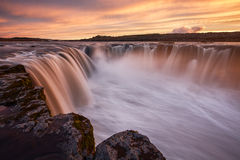 Selfoss. The Selfoss waterfall in northern iceland by sunset Royalty Free Stock Photography