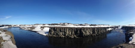 Selfoss Waterfall panorama. In Iceland Royalty Free Stock Images