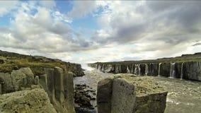 Selfoss waterfall stock video footage