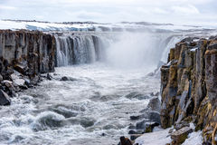 Selfoss waterfall in Vatnajokull National Park, North Iceland. Selfoss waterfall in Vatnajokull National Park, Northeast Iceland royalty free stock image