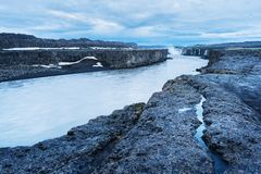 Cascade of Selfoss waterfall in Iceland. Selfoss waterfall. Wonderful landscape in Iceland. Famous Tourist Attraction Stock Photography