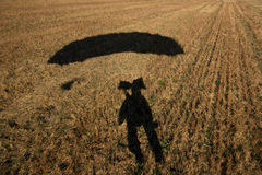 Selfportrait, landing in field Royalty Free Stock Images