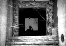 Selfportrait in the old well. royalty free stock image