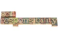 Selfresponsibility word. In letterpress wood type printing blocks Stock Photos