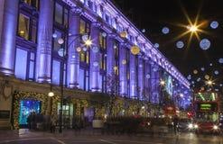 Selfridge en la calle de Oxford en la Navidad Imagen de archivo