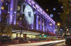 Selfridge on Oxford Street at Christmas Royalty Free Stock Photo