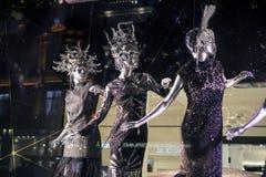 Selfridges, de Straat van Oxford, Londen, voor Kerstmis en het Nieuwe Jaar dat van 2015 wordt verfraaid Stock Fotografie