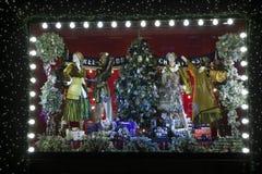 Selfridges, de Straat van Oxford, Londen, voor Kerstmis en het Nieuwe Jaar dat van 2018 wordt verfraaid Royalty-vrije Stock Foto's