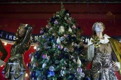 Selfridges, de Straat van Oxford, Londen, voor Kerstmis en het Nieuwe Jaar dat van 2018 wordt verfraaid Royalty-vrije Stock Afbeelding