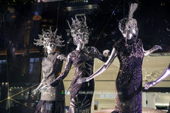 Selfridges Oxford gata, London som dekoreras för jul och nytt 2015 år Arkivbild