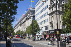 Selfridges superstore on Oxford street, shopping mail with famous fashion boutiques and big stores Royalty Free Stock Photography