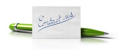 Seli metta in contatto con penna verde Fotografia Stock