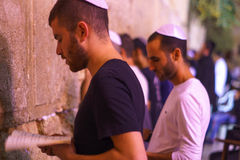 Selichot (Jewish penitential prays) in the western wall Stock Images