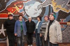 Selidovo, Ukraine - February 28, 2014: Female builders working i Royalty Free Stock Image