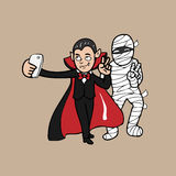 Selie vampire and mummy Royalty Free Stock Image