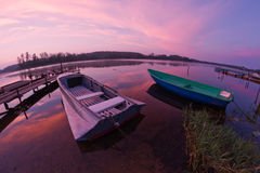 Seliger lake: boats sunrise Stock Photos