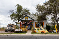 SELIGMAN, ARIZONA. SEPTEMBER 6: Views of the route 66 decorations in the city of Seligman in Arizona on September 6, 2015. Seligman is a small city along the Stock Photos