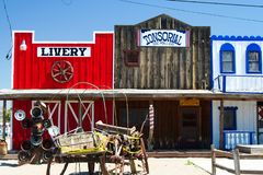 SELIGMAN ARIZONA, USA - AUGUST 14. 2009: View on historic wild west facade with livery and tonsorial of Doc Holliday stock photo