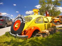 Old Beetle Car, Route 66, Seligman AZ. Old Beetle Of Love - Hippie in Seligman - The historic town on U.S. Route 66. Tourist attraction, Arizona. USA stock images