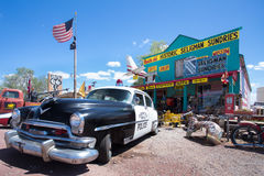 Seligman Route 66. SELIGMAN, ARIZONA - MAY 8, 2014:  Historic Seligman Sundries on Route 66 in Arizona.  This landmark store was built in 1904 Stock Photography