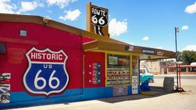 Seligman, Route 66, Arizona-Touristenattraktion, USA lizenzfreie stockfotos