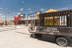 SELIGMAN, USA - Historic depot, old wooden cart. Royalty Free Stock Photography