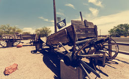 SELIGMAN, USA - Historic depot, old wooden cart. Stock Photography