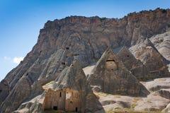 Selime en Ihlara-vallei in Cappadocia, Anatolië, Turkije stock afbeelding