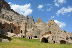 Selime and Ihlara valley in Cappadocia, Anatolia, Turkey royalty free stock images