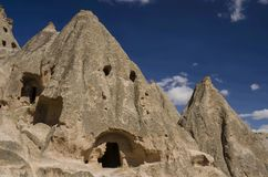 Selime rock-cut monastery in Cappadocia, Turkey,cave temple Royalty Free Stock Images