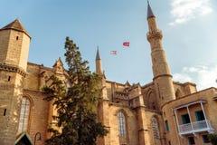 Selimiye清真寺,以前圣索菲娅大教堂 塞浦路斯尼科西亚 免版税库存照片