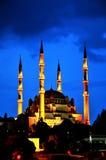 Selimiye Moschee, Nacht, die Türkei stockfotografie