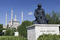 Selimiye mosque. And statue of its architect Royalty Free Stock Image