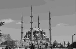 Selimiye Mosque Edirne vector vector illustration