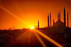 Selimiye Mosque in Sunrise HDR. Selimiye Mosque in Edirne view sunrise HDR Royalty Free Stock Image