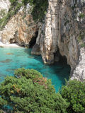 Selina beach and caves, Zante island Stock Photos