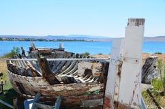 Selina, Croazia, mare adriatico, barca di legno fotografia stock libera da diritti